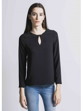 Black Basic Tunic With Golden Detail