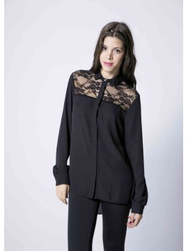 Basic Black Shirt With Lace Detail